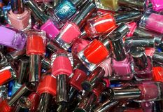 Nail enamels ready to be sold royalty free stock photography