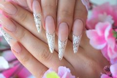 Nail extension. Female hands - Decorative artificial nails stock photo
