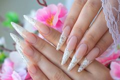 Nail extension. Female hands - Decorative artificial nails royalty free stock image