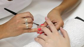 Nail extension gel apply stock footage
