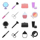 Nail file, scissors for nails, perfume, powder with a brush.Makeup set collection icons in black,cartoon style vector. Symbol stock illustration Stock Photos