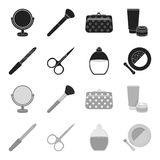 Nail file, scissors for nails, perfume, powder with a brush.Makeup set collection icons in black,monochrome style vector. Symbol stock illustration Royalty Free Stock Image