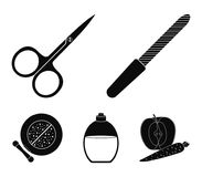Nail file, scissors for nails, perfume, powder with a brush.Makeup set collection icons in black style vector symbol. Stock illustration Royalty Free Stock Image