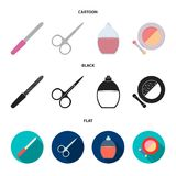 Nail file, scissors for nails, perfume, powder with a brush.Makeup set collection icons in cartoon,black,flat style. Vector symbol stock illustration Stock Images