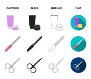 Nail file, scissors for nails, perfume, powder with a brush.Makeup set collection icons in cartoon,black,outline,flat. Style vector symbol stock illustration Stock Photography