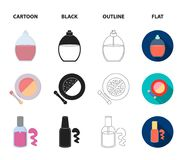 Nail file, scissors for nails, perfume, powder with a brush.Makeup set collection icons in cartoon,black,outline,flat. Style vector symbol stock illustration Royalty Free Stock Images