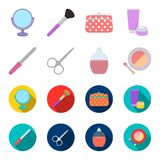 Nail file, scissors for nails, perfume, powder with a brush.Makeup set collection icons in cartoon,flat style vector. Symbol stock illustration Royalty Free Stock Photos