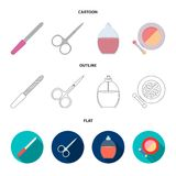 Nail file, scissors for nails, perfume, powder with a brush.Makeup set collection icons in cartoon,outline,flat style. Vector symbol stock illustration Royalty Free Stock Images