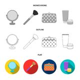 Nail file, scissors for nails, perfume, powder with a brush.Makeup set collection icons in flat,outline,monochrome style. Vector symbol stock illustration Royalty Free Stock Images