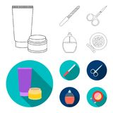Nail file, scissors for nails, perfume, powder with a brush.Makeup set collection icons in outline,flat style vector. Symbol stock illustration Royalty Free Stock Photos