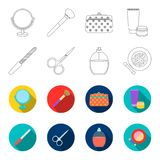 Nail file, scissors for nails, perfume, powder with a brush.Makeup set collection icons in outline,flat style vector. Symbol stock illustration Royalty Free Stock Image