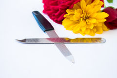 Nail files with flowers Royalty Free Stock Photos