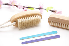 Nail files and hand brush Stock Photography