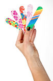 Nail files in woman hand Stock Images
