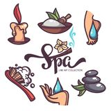 Nail, foot, hand spa and care, vector objects and icons collecti. On line art style and lettering composition Royalty Free Stock Image