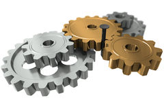Nail between gears - a symbol obstacle in business Royalty Free Stock Photos