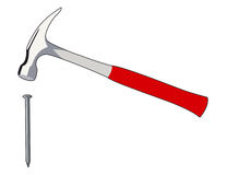 Nail and hammer. Element of a toolbox to tinker Royalty Free Illustration