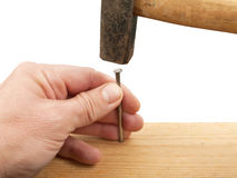 Nail and hammer Stock Image