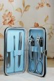 Nail kits in box Royalty Free Stock Images