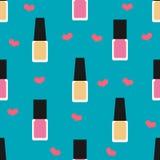 Nail lacquer or nail polish seamless pattern. Illustration of pink and yellow nail lacquer or nail polish in seamless pattern stock illustration