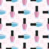 Nail lacquer or nail polish seamless pattern. Pink and blue nail lacquers or nail polishes in seamless pattern with dots on a background Stock Photo