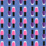 Nail lacquer or nail polish seamless pattern. Pink and purple nail lacquers or nail polishes in seamless pattern with dotted cage on a background Stock Photography