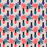 Nail lacquer or nail polish seamless pattern. Purple, green and red nail lacquers or nail polishes in seamless pattern with paint splashes on a background stock illustration