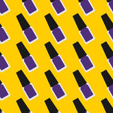 Nail lacquer or nail polish seamless pattern. Purple nail polish on a yellow background Stock Photography