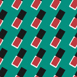 Nail lacquer or nail polish seamless pattern. Red nail polish on a green background Royalty Free Stock Photography