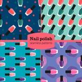Nail lacquer or nail polish seamless patterns set. Nail lacquer or nail seamless patterns set royalty free illustration