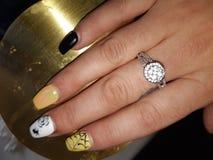 Nail love rings pretty royalty free stock image