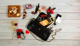 nail make-up Bag woman lady stuff Royalty Free Stock Images