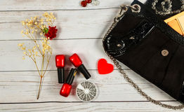 Nail make-up Notebook Bag mirror woman lady stuff Stock Images