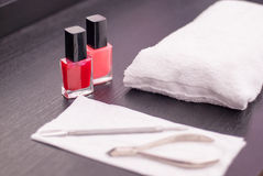 Nail manicure treatment table Stock Photo