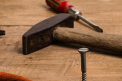 Nail and old tools Royalty Free Stock Images