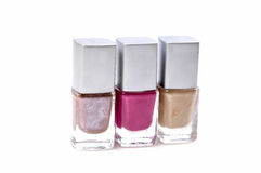 Nail paint bottles Royalty Free Stock Images