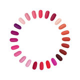 Nail palette set. Colorful nails settled in a circle. Beauty make up collection. Salon sign Royalty Free Stock Photo
