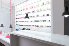 Nail and pedicure saloon modern with nail polish colorful in a r Royalty Free Stock Photography