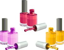 Nail polish. Bottles of  nail polish, isolated on white background. Vector Stock Photos