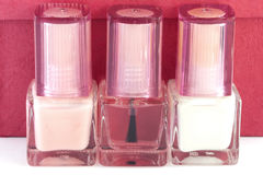 Nail polish. Three bottles of nail polish for French manicure Stock Photography