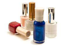 Nail Polish. Bottles with nail polish on a white background Stock Photography