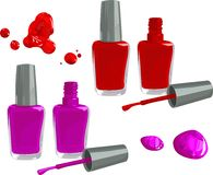 Nail polish. Bottles of nail polish, isolated on white background Stock Photos