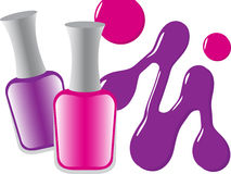 Nail polish. Color nail polish with drops Royalty Free Stock Photography