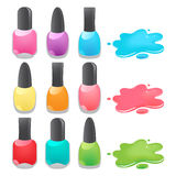 Nail polish. Bottles of different colors nail polish Stock Photos
