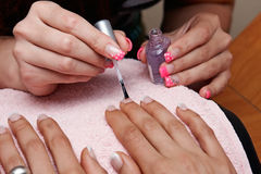 Nail polish. In a beauty salon Royalty Free Stock Photo