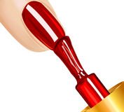 Nail polish. Polish on the nails, on white background Stock Images