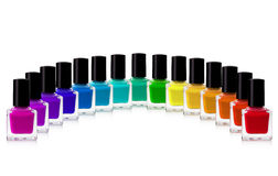 Nail polish. Red nail polish bottle on white background stock photo
