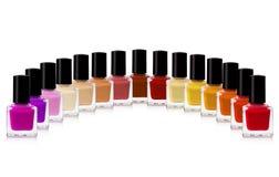 Nail polish. Red nail polish bottle on white background royalty free stock image