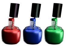 Nail polish. My 3D rendering of 3 bottles of nail polish Stock Photography