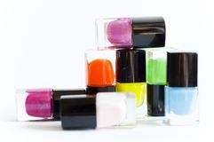 Nail polish. Multicolored isolated white background Royalty Free Stock Images